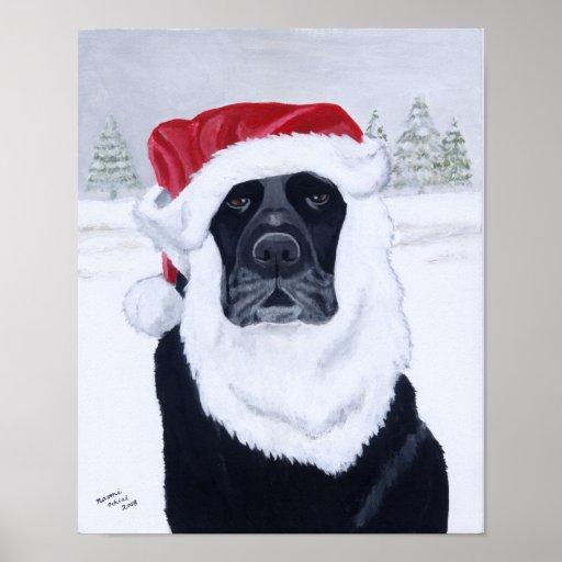 Black Labrador Christmas Santa Artwork Posters