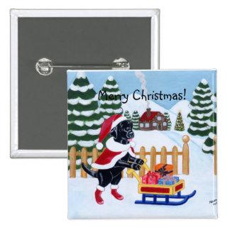 Black Labrador Christmas Santa Pins