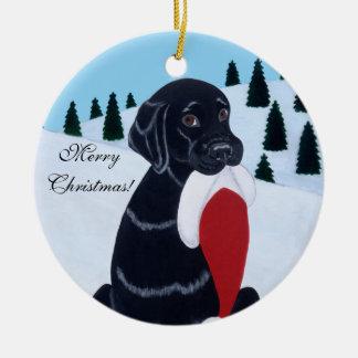 Black Labrador Christmas Santa Hat Ceramic Ornament