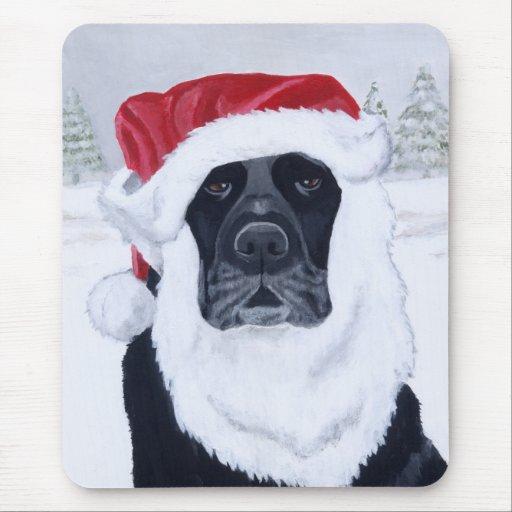 Black Labrador Christmas Santa Hat Painting Mouse Pad