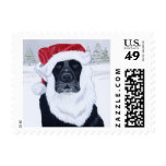 Black Labrador Christmas Santa Hat Painting Postage