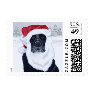 Black Labrador Christmas Santa Hat Painting Stamp