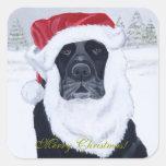 Black Labrador Christmas Santa Hat Painting Sticker