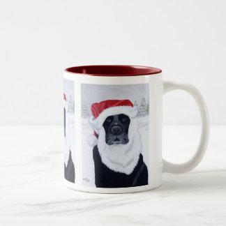 Black Labrador Christmas Santa Hat Painting Two-Tone Coffee Mug