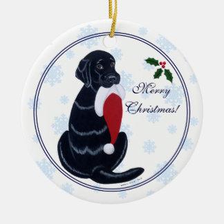 Black Labrador Christmas Santa Hat Snowflake Ornaments
