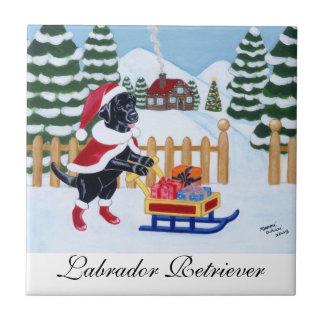 Black Labrador Christmas Santa Painting Ceramic Tiles
