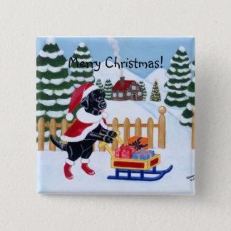 Black Labrador Christmas Santa Pinback Button