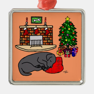 Black Labrador Christmas Tree Illustration Metal Ornament