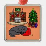 Black Labrador Christmas Tree Illustration Christmas Ornaments