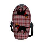 Black Labrador Cowboy Cartoon Courier Bag