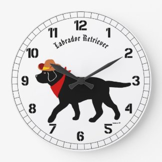 Black Labrador Cowboy Cartoon Large Clock