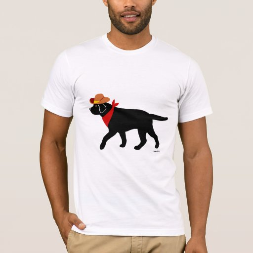 Black Labrador Cowboy Cartoon T-Shirt