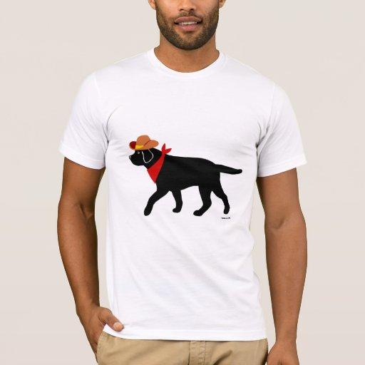 Black Labrador Cowboy Cartoon T-Shirt