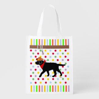 Black Labrador Cowboy Reusable Grocery Bag