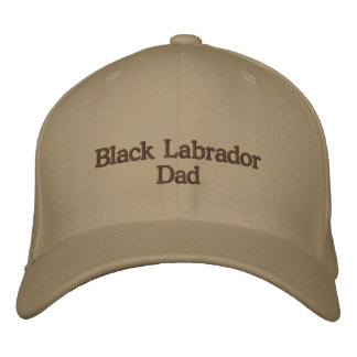 Black Labrador Dad Text Embroidered Baseball Hat