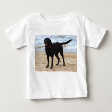 Beach Themed Black Labrador Dog Baby T-Shirt