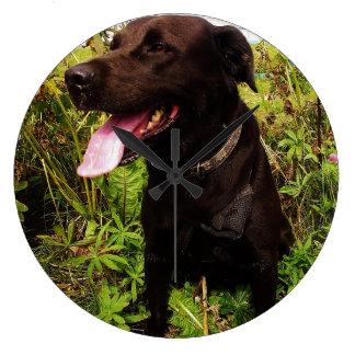 Black Labrador Dog Large Round Wall Clock