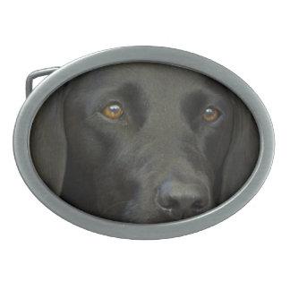 Black Labrador Dog Oval Belt Buckle