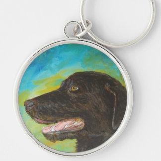 Black Labrador Dog Pet Portrait Keychain