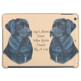 black labrador dog portrait art with fun slogan iPad air cases