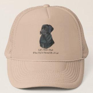 black labrador dog portrait art with fun slogan trucker hat