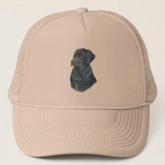 black labrador dog portrait original art trucker hat