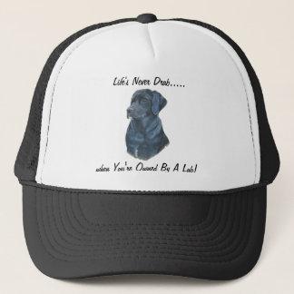 black labrador dog portrait original fun slogan trucker hat