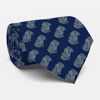 black Labrador dog realist portrait art blue Tie
