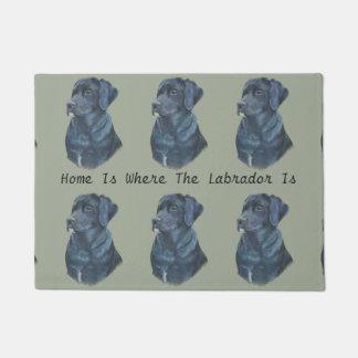 black Labrador dog realist portrait art Doormat