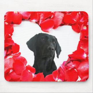 Black Labrador Dog Roses Heart Photo mosepad Mouse Pad