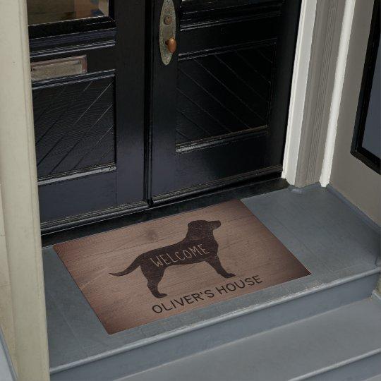 Black Labrador Dog Silhouette Rustic Style Custom Doormat