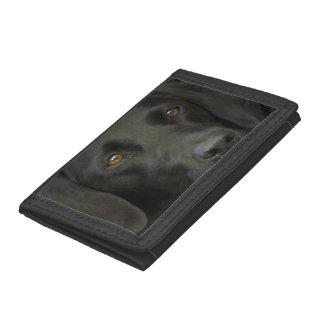 Black Labrador Dog Trifold Wallets