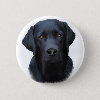 Black Labrador Dog Water Color Art Painting Button