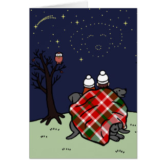 Black Labrador Family and Starry Sky Card
