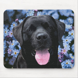 Black Labrador - Forget Me Not Mouse Pad