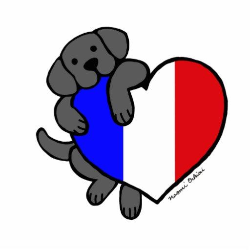Black Labrador amp French Heart Cartoon Photo Cutout Zazzle