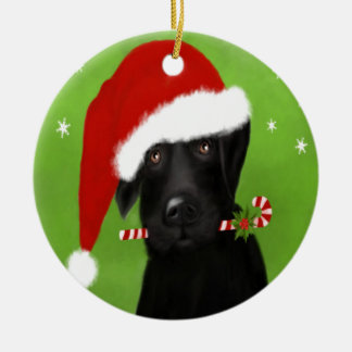 Black Labrador -Funny Christmas Dog Ceramic Ornament