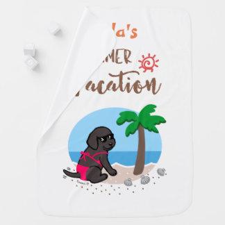 Black Labrador Girl Summer Vacation Blanket