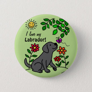 Black Labrador & Green Button