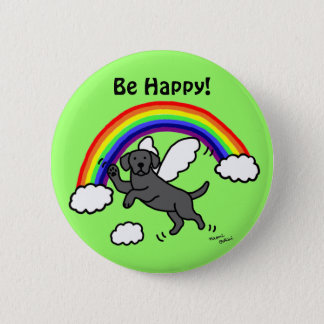 Black Labrador Guardian Angel (Rainbow Bridge) Button