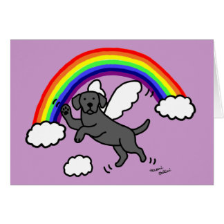 Black Labrador Guardian Angel (Rainbow Bridge) Card