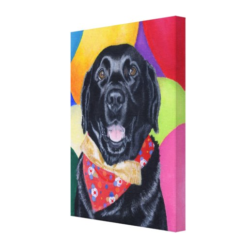 Black Labrador Happy Birthay Artwork Canvas Print