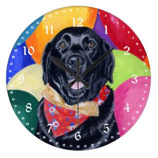 Black Labrador Happy Birthay Painting Large Clock