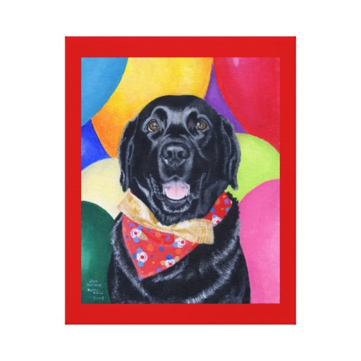 Black Labrador Happy Birthay Red Canvas Print