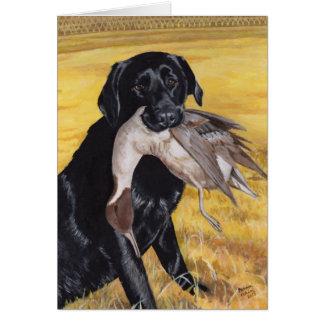 Black Labrador Hunting Dog Card