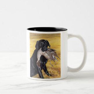 Black Labrador Hunting Dog Two-Tone Coffee Mug