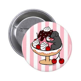 Black Labrador & Ice Cream Sundae Pinback Buttons