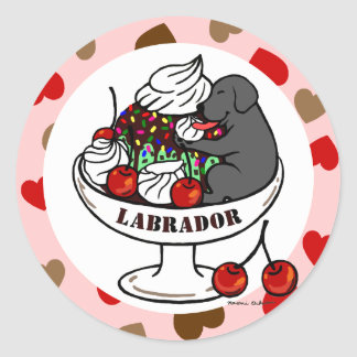 Black Labrador & Ice Cream Sundae Classic Round Sticker
