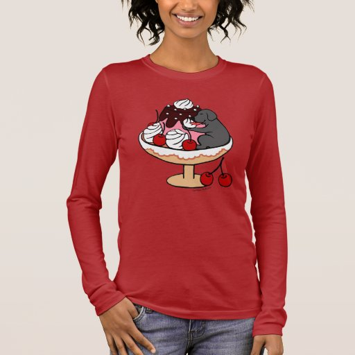 Black Labrador & Ice Cream Sundae Long Sleeve T-Shirt