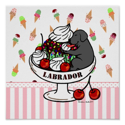 Black Labrador & Ice Cream Sundae Poster